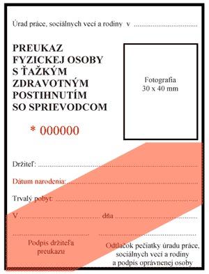 794c6c6425dc Predná strana preukazu fyzickej osoby s ťažkým zdravotným postihnutím so  sprievodcom
